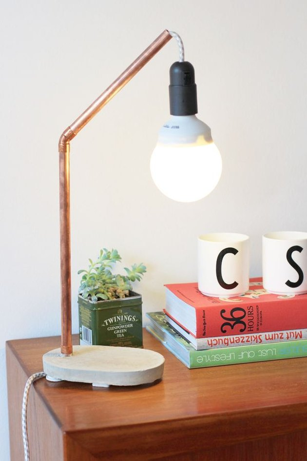 DIY Concrete and Copper Table Lamp