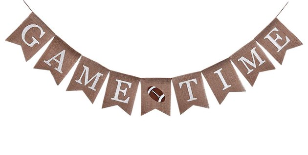 burlap game time banner