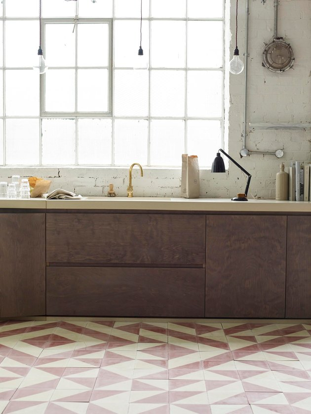 dusty pink geometric Mexican tile floor in kitchen