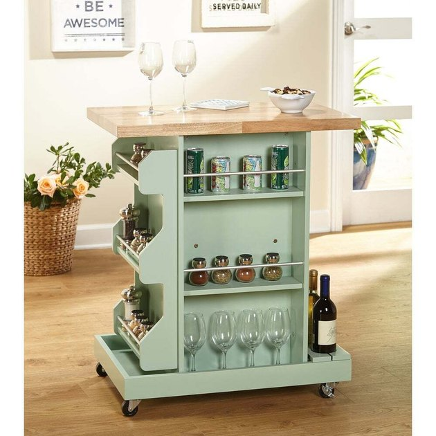rolling kitchen island server with hardwood top