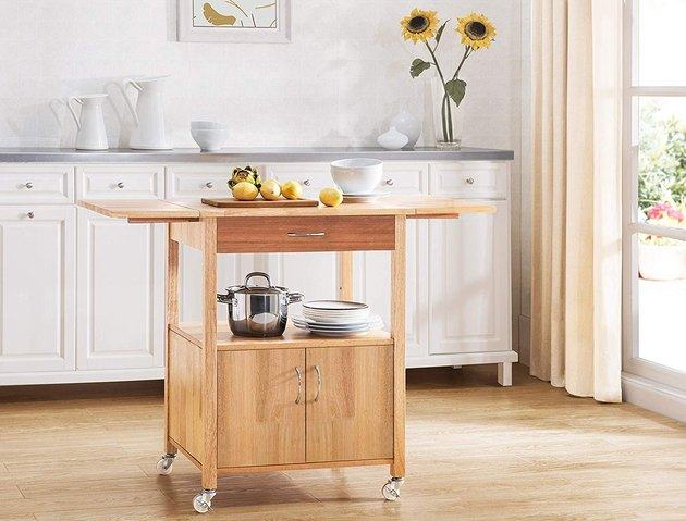 hardwood kitchen cart with drop-leaf table