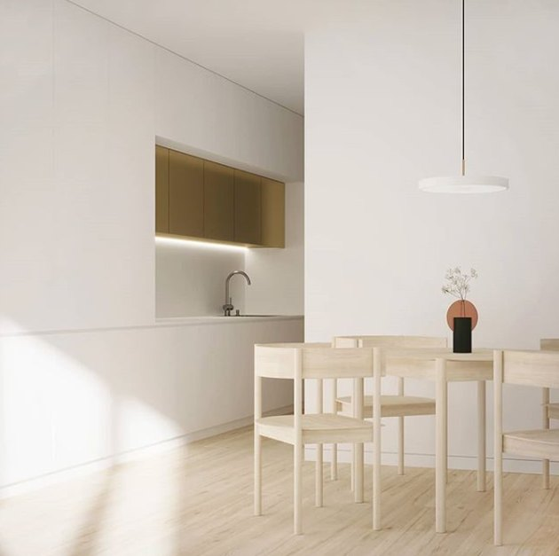 eco-friendly kitchen flooring in minimalist Scandinavian kitchen