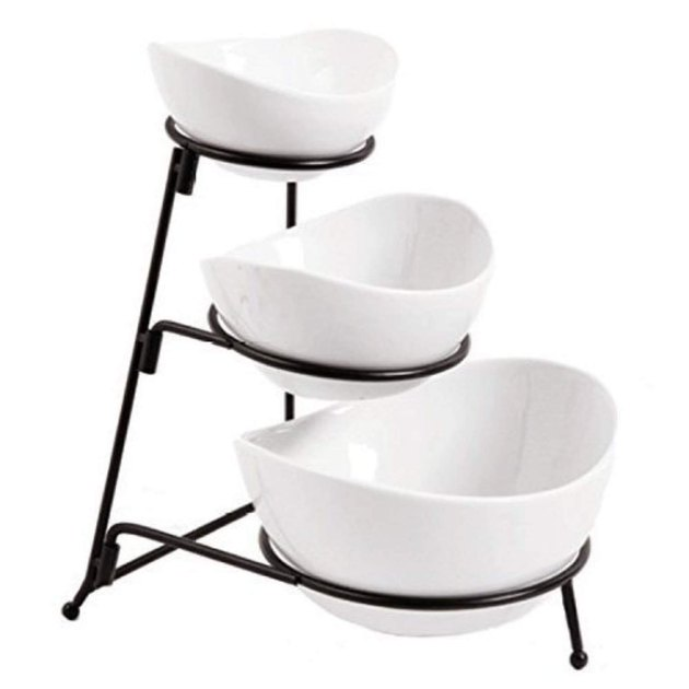 3-tier white oval bowls with black rack