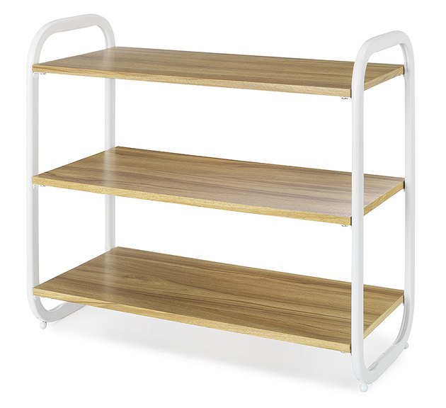 light wood and white shoe rack