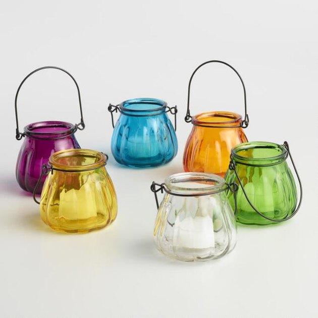 Glass Melon Tealight Lantern Candleholders, Set Of 6, $8.94