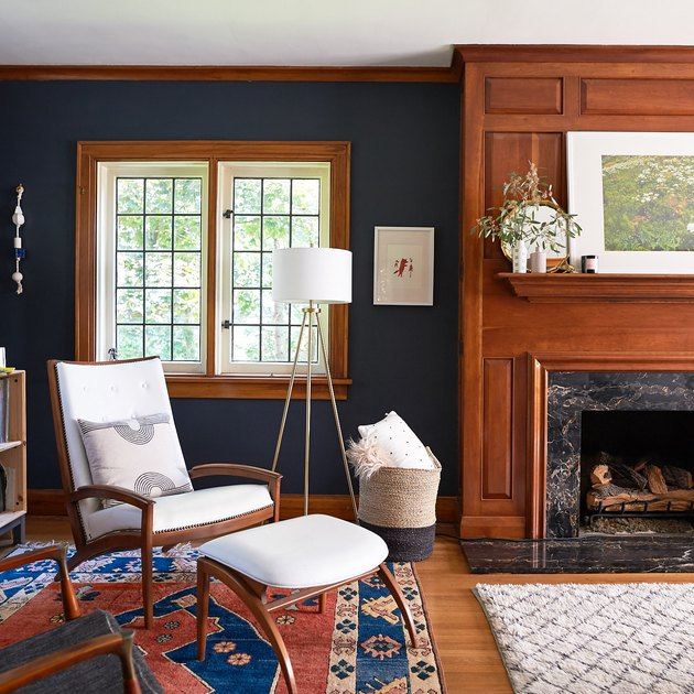 Craftsman living room with wood fireplace and modern furniture