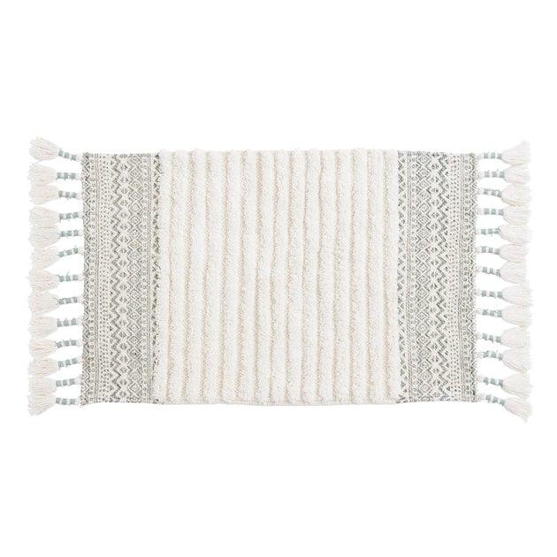 Jadeite and Ivory Geometric Tufted Stripe Bath Mat, $14