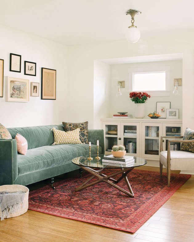 Craftsman living room with pastel color palette and contemporary furniture