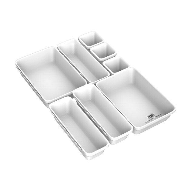white 8-piece drawer organizer bins