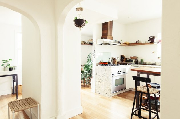 light wood kitchen floors in small space