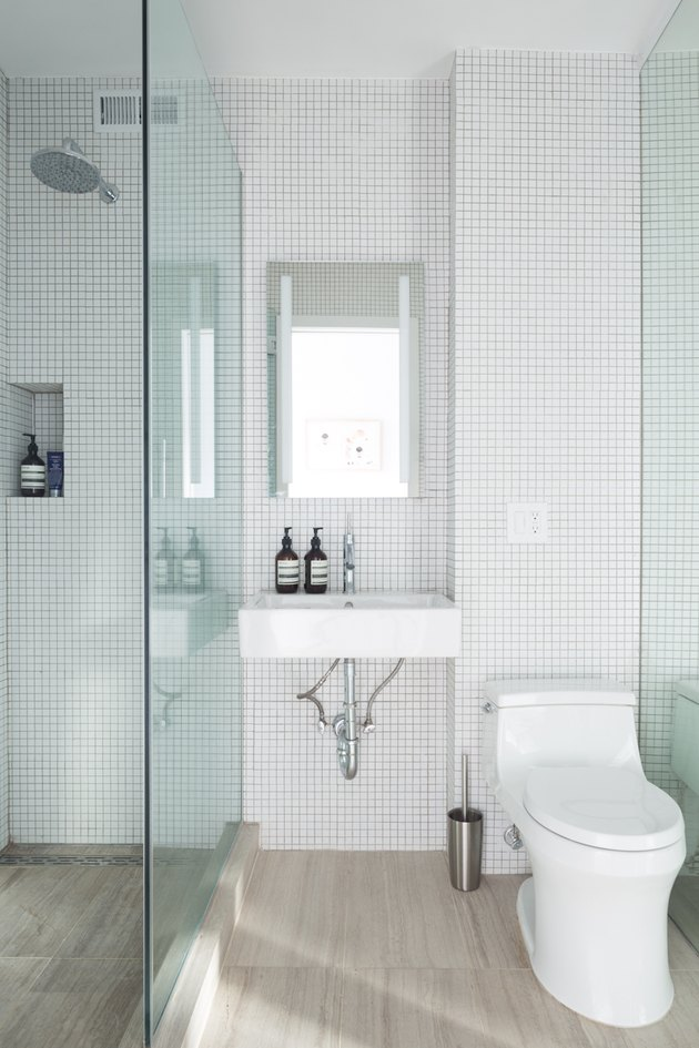 small bathroom with open shower