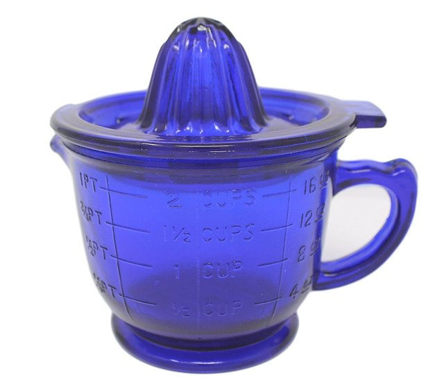 cobalt blue Depression glass juicer