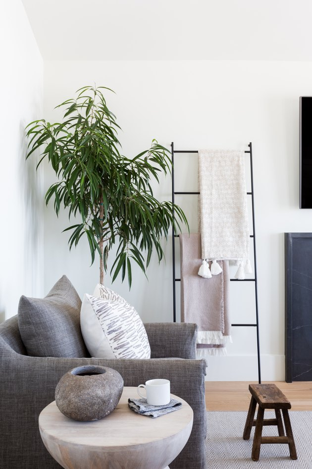 A living area with a neutral palette