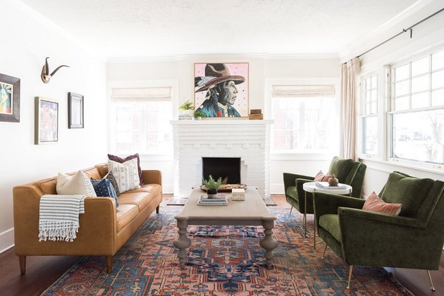 Craftsman living room with Native American artwork above fireplace