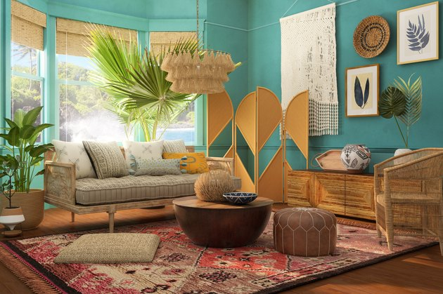 tropical-style living room