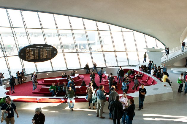 the red conversation pit in the TWA Terminal of JFK airport in New York City