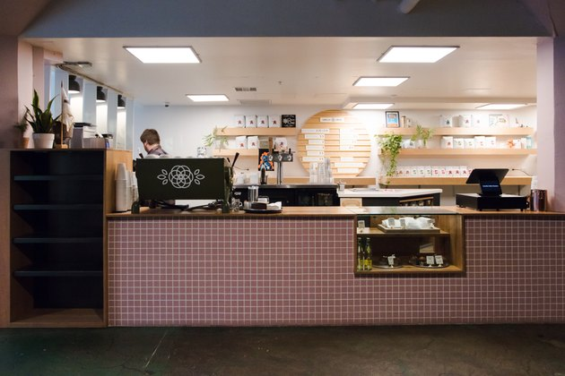 cafe with millennial pink tiles