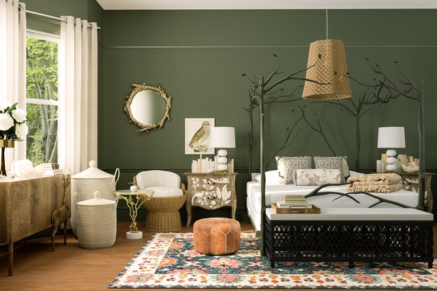 green-walled nature-inspired bedroom