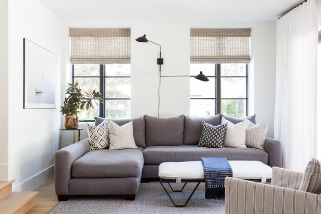A living area with statement lighting