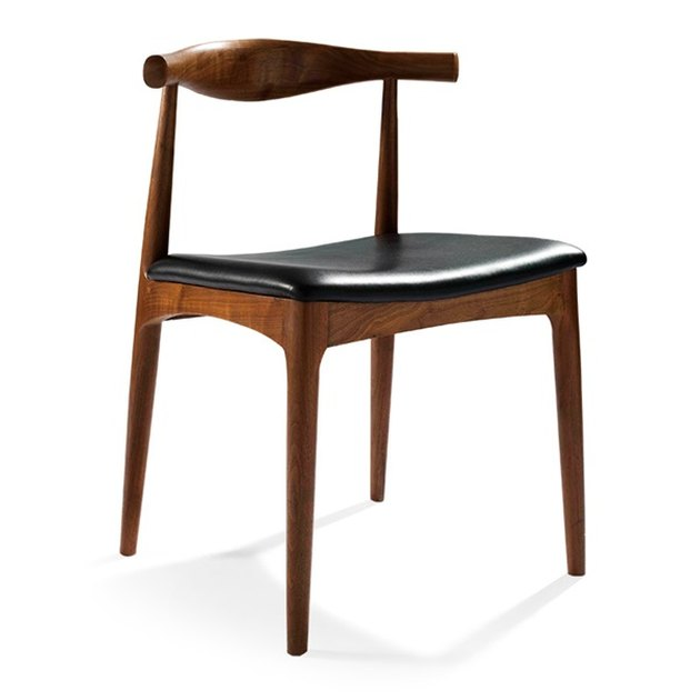 Mid-century wooden side chair with black leather seat