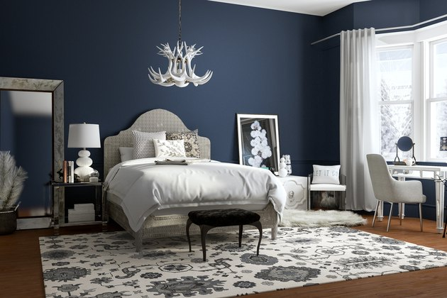 blue-and-white bedroom