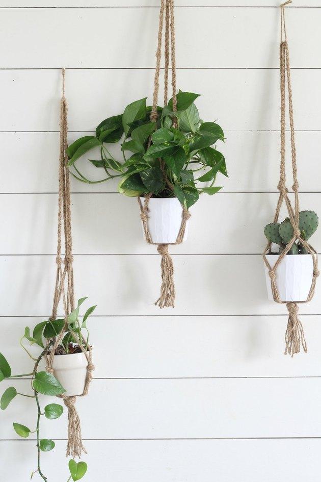 DIY hanging macrame planters