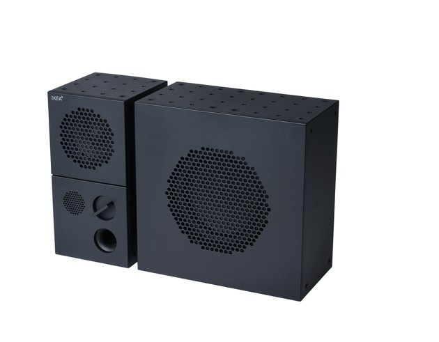 black speaker with subwoofer