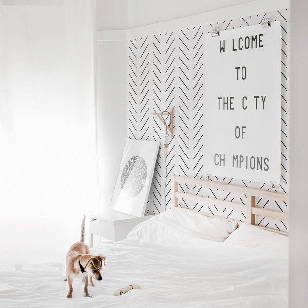 herringbone black and white Scandinavian wallpaper