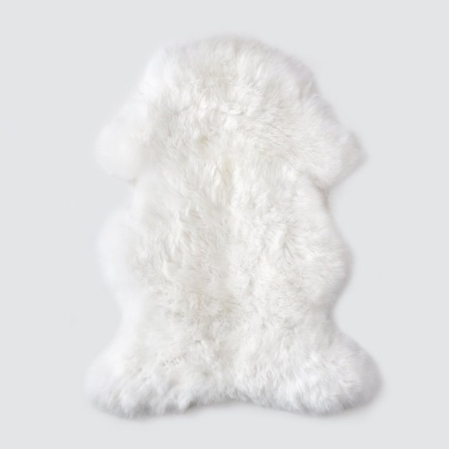 white sheepskin Scandinavian rug