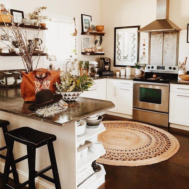 round jute rug for kitchen floor in white boho kitchen