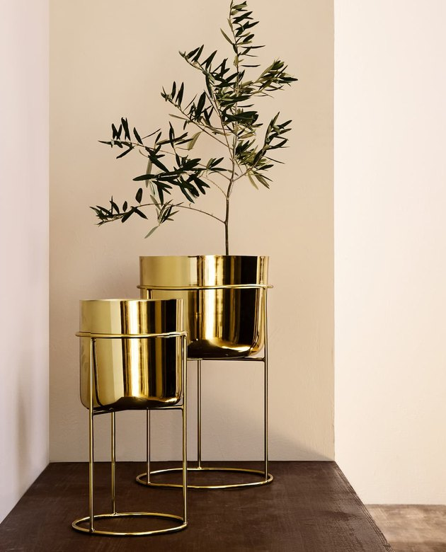 two gold flower pots on stands