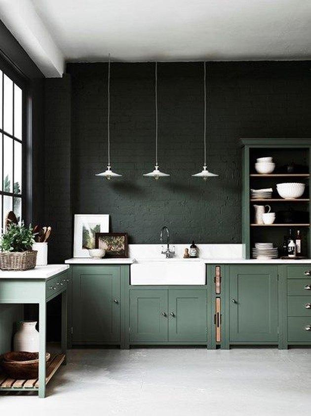 green monochrome kitchen