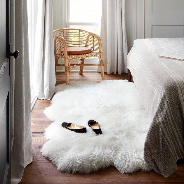 white sheepskin Scandinavian rug