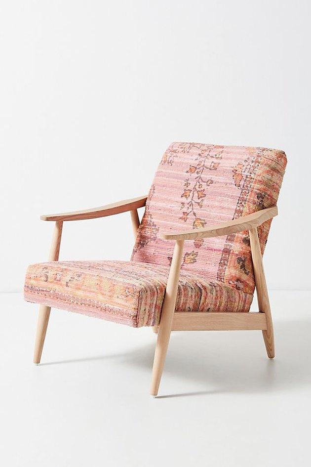 pink rug-printed armchair