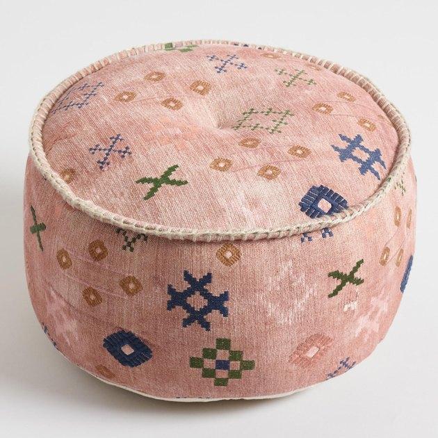 blush abstract symbols pouf