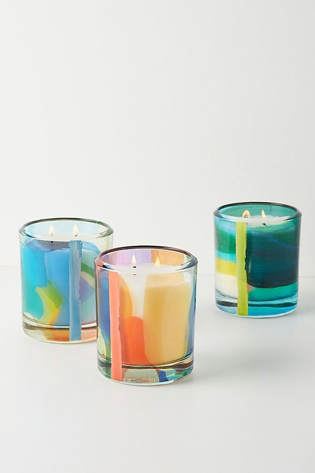 rainbow-hued glass candles