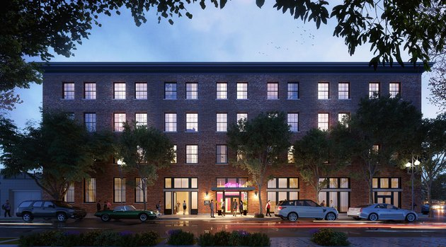 An exterior rendering of Domio's new New Orleans apartment-hotel.