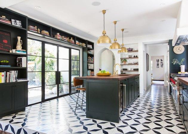 black and white kitchen floor tiles in modern kitchen