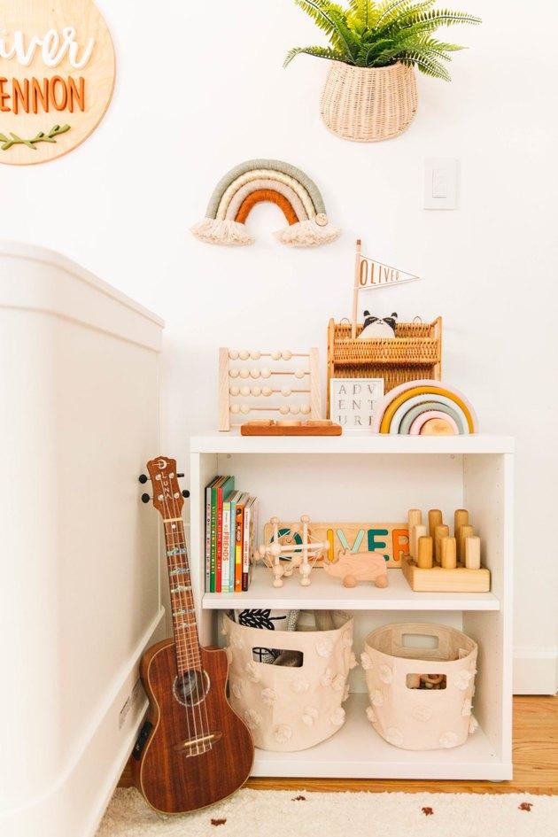 minimal Scandinavian boho nursery storage