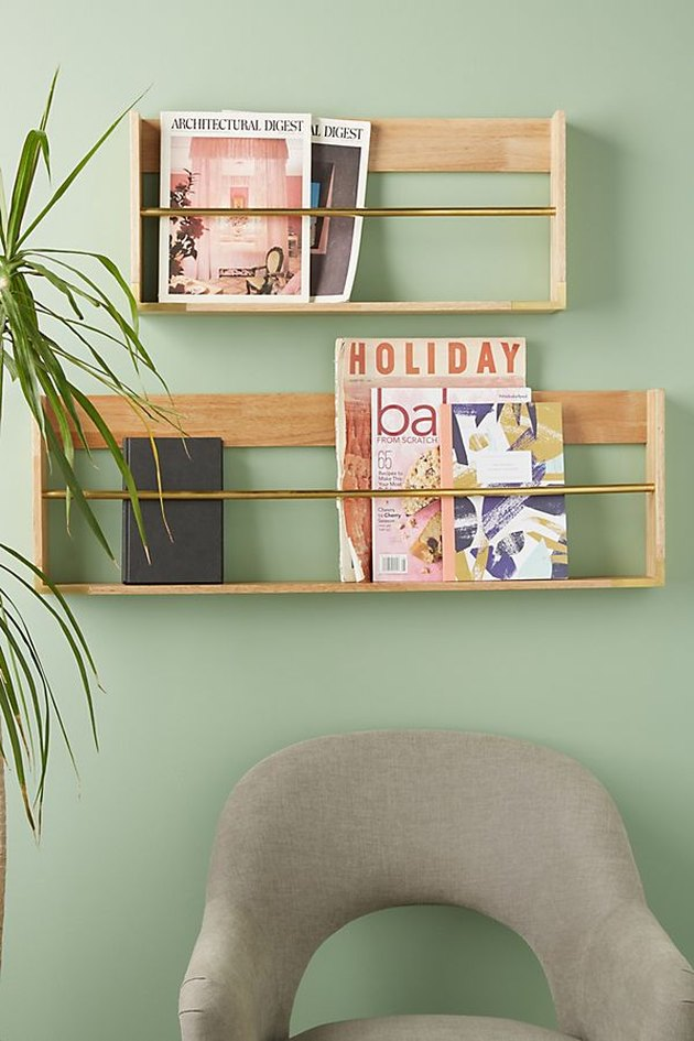 Wooden and Brass Magazine Rack
