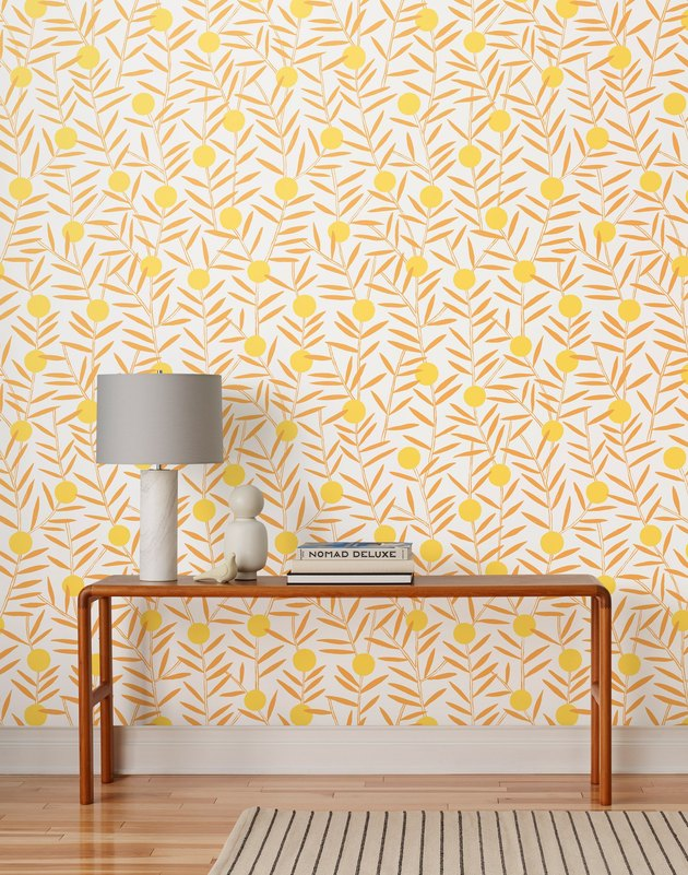 yellow floral Scandinavian wallpaper