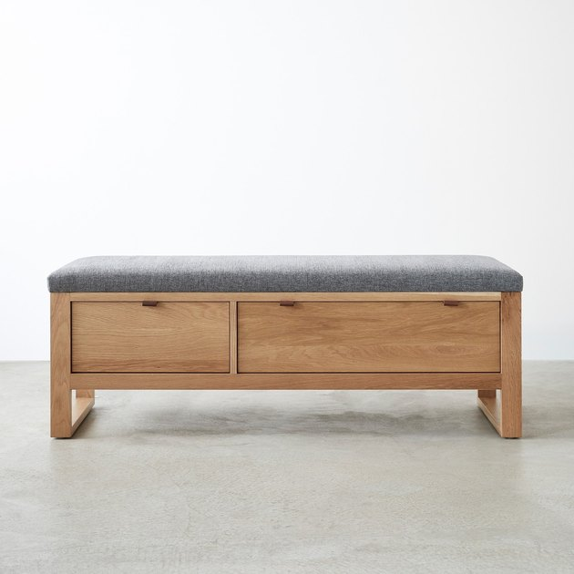 white oak upholstered storage bench