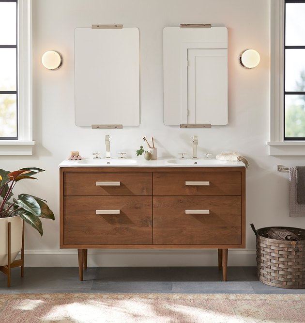 teak wood double sink bathroom vanity