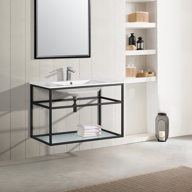 wall-mounted bathroom vanity with shelving