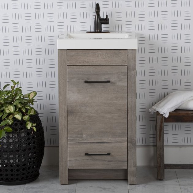 rustic single sink bathroom vanity