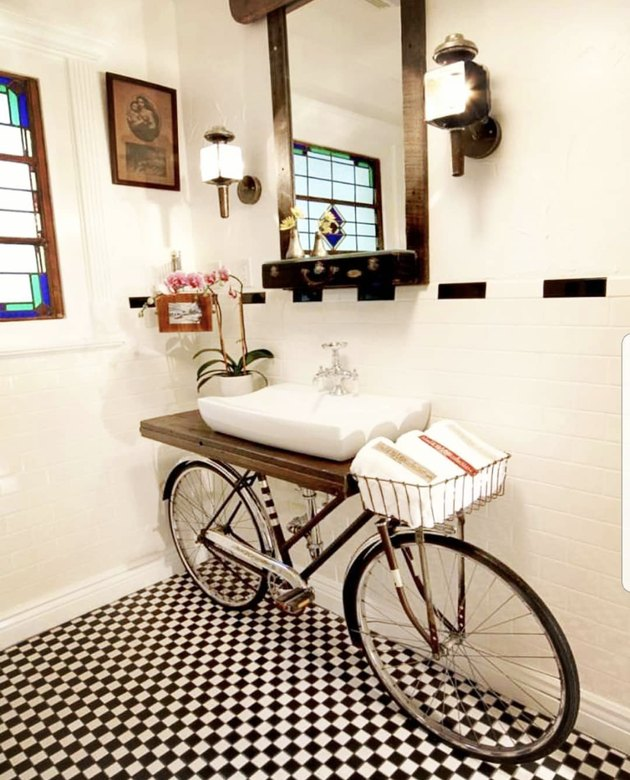 DIY bathroom vanity using a bicycle frame