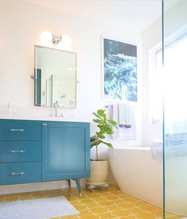 DIY bathroom vanity painted turquoise