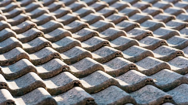Close-up of cement tile roof