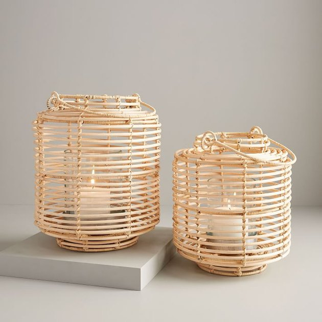 Rattan lanterns with candles inside for bohemian living room