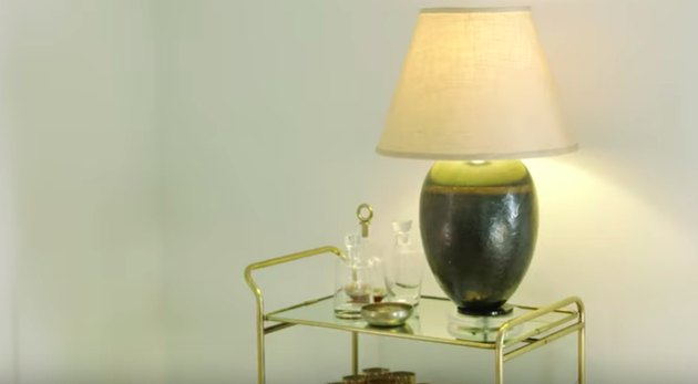 lamp on gold bar cart